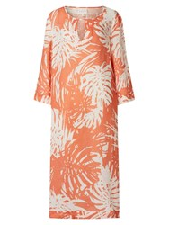 East Linen Palm Kaftan Maxi Dress Orange