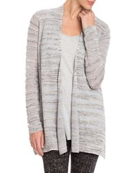 Nic Zoe Plus Open Front Long Sleeve Cardigan Grey Mix