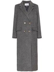 Ganni Double Breasted Checked Coat Grey