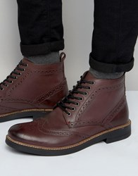 Frank Wright Brogue Boots In Burgundy Leather Tan Red