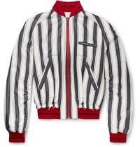 Haider Ackermann Opium Distressed Striped Silk Bomber Jacket White