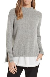 Brochu Walker Strand Layered Wool Cashmere Sweater Sterling Mel W White