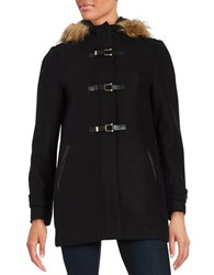 Cole Haan Signature Faux Fur Trimmed Wool Twill Duffle Coat Black