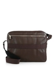 Longchamp Leather Messenger Bag Mocha