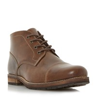 Howick Cheetah Toecap Detail Lace Up Boots Brown