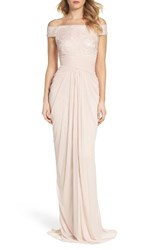 Adrianna Papell Women's Sequin Lace And Tulle Gown Blush