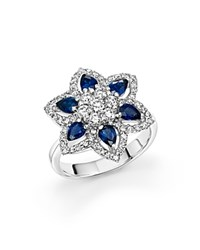 Bloomingdale's Sapphire And Diamond Flower Ring In 14K White Gold
