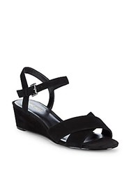 Nine West Lucy Suede Wedge Sandals Black