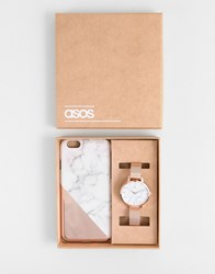 Asos Marble Phone Case And Mesh Watch Gift Set Rose Gold Copper