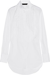 Karl Lagerfeld Emma Pleated Stretch Cotton Blend Shirt White