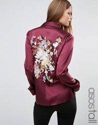 Asos Tall Satin Pyjama Blouse With Floral Embroidered Back Burgundy Multi