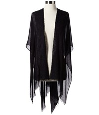 Ivanka Trump Ruana With Embroidered Lace Applique Black Scarves