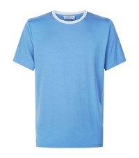Homebody Jersey Contrast Trim Lounge Top Blue