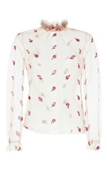 Luisa Beccaria Tulle Embroidered Blouse Pink
