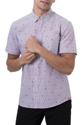 7 Diamonds Men's Young Galaxy Embroidered Stripe Woven Shirt Blue