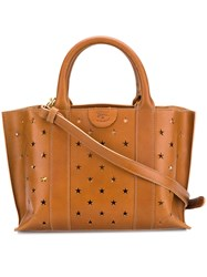 Il Bisonte Perforated Star Handbag Brown