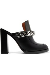 Givenchy Chain Trimmed Leather Mules Black Usd