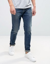 Selected Jeans Anti Fit In Mid Blue Blue