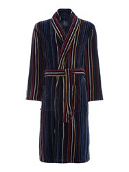 Howick Multistripe Towelling Robe Multi Coloured