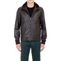 Isaia Fur Trimmed Leather Bomber Jacket Brown