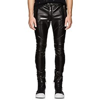 Balmain Faux Leather Biker Jogger Pants Black