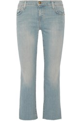 Current Elliott The Kick Cropped Mid Rise Flared Jeans Blue