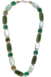 Bottega Veneta Oxidized Silver Multi Stone Necklace Dark Green