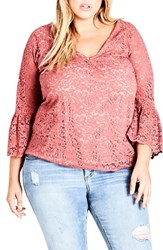 City Chic Plus Size Women's Mystic Lace Top Soft Melon