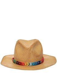 Htc Hollywood Trading Company Round Straw Hat W Studs Beige