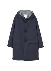 Mango Wool Blend Duffle Coat Navy