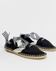 South Beach Espadrille With Gingham Tie Black