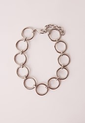 Missguided Circle Choker Necklace Silver Grey