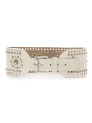 Spacenk Nk Studded Leather Belt White