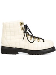 Buttero Quilted Lace Up Ankle Boots White