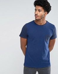 Mango Man T Shirt With Contrast Sleeves In Navy Navy