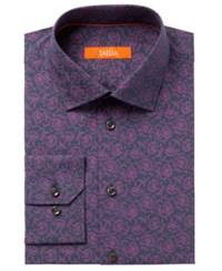 Tallia Men's Fitted Rust Floral Dress Shirt