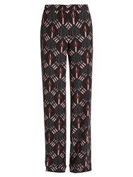 Valentino Love Blade Print Silk Trousers 1061 Black Multi