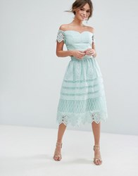 Chi Chi London Midi Skirt In Paneled Lace Green
