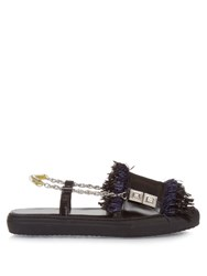 Toga Fringed Slingback Sandals Black Navy