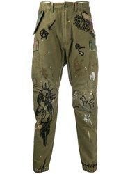 R 13 R13 Graffiti Cargo Trousers Green