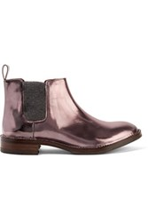 Brunello Cucinelli Metallic Glossed Leather Ankle Boots Baby Pink