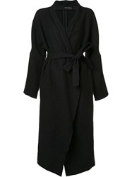 Isabel Benenato Long Belted Coat Black