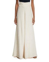 Johanna Ortiz Queen Of Orchids High Waist Wide Leg Viscose Jacquard Pants Ecru