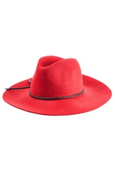 Emilio Pucci Felted Merino Wool Fedora With Leather Trim Red