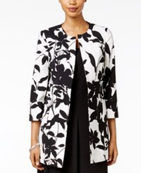 Kasper Long Blazer Black White