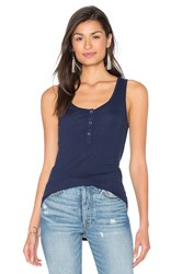 Splendid Codette Mini Variegated Rib Stripe Scoop Neck Tank Navy