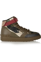 Valentino Camouflage Print Leather High Top Sneakers
