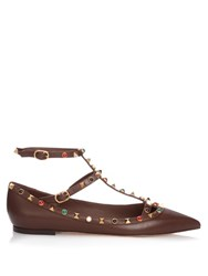 Valentino Rolling Rockstud Leather Flats Brown Multi