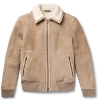 Loro Piana Cashmere Trimmed Shearling Bomber Jacket Brown