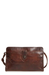 Frye Melissa Leather Crossbody Clutch Brown Dark Brown